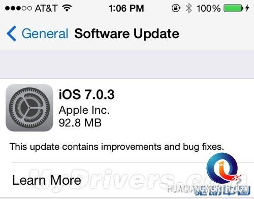 苹果发布iOS 7.0.3